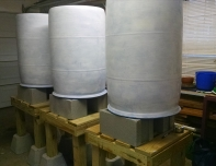 Painting blue barrels