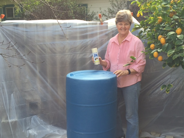 how to paint barrels: woman spray paints barrel for rainwater catchment