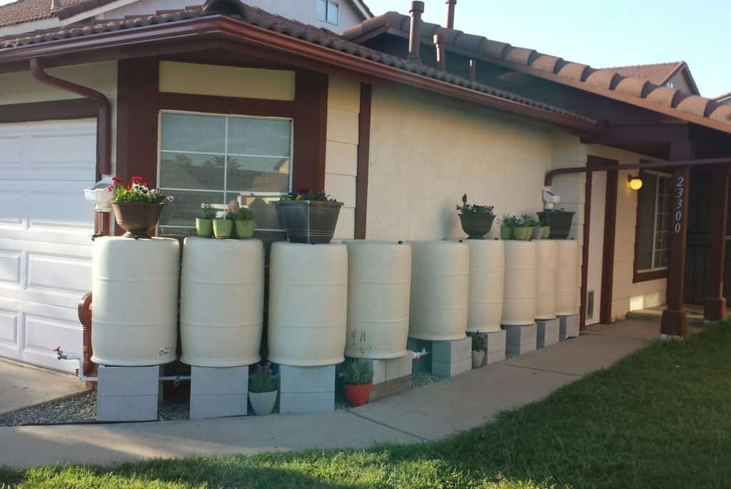 White Rain Barrels for rainwater catchment