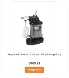 Wayne Cicdu800 0.5 HP Sump Pump