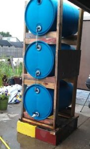 Vertical Stacked Rain Barrels
