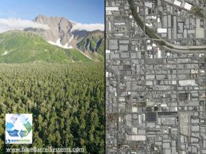 Natural vs Developed landscape