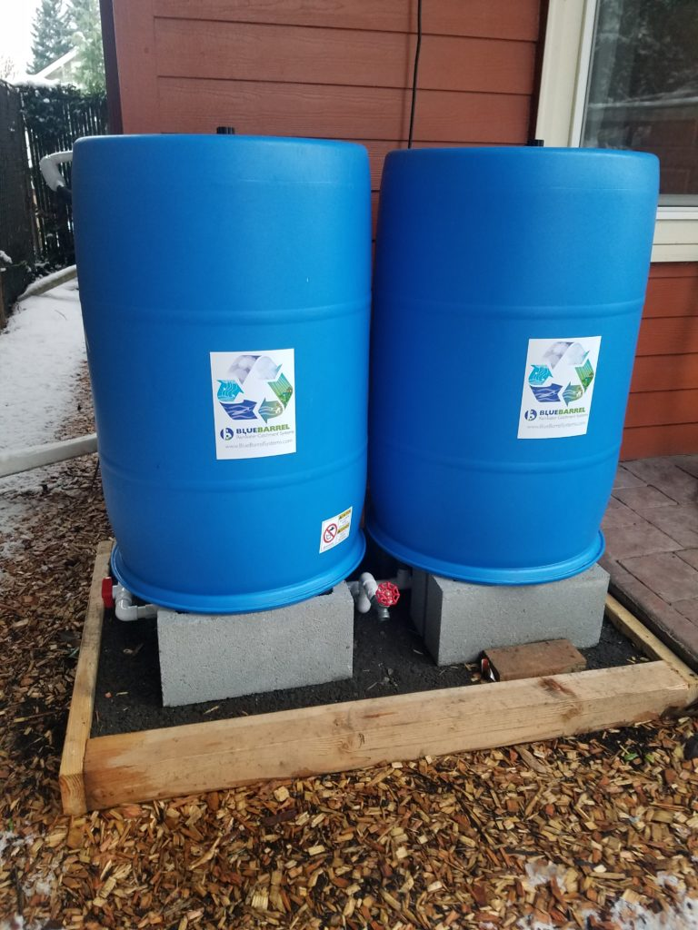 """I'm super pleased with the first implementation of my BlueBarrel System. The bottom side plumbing is brilliant. Parts, pieces, and instructions are great. I was shocked to discover that my first 110 gallons was collected in less than 3 days! I'll be adding on two more barrels next month. Great customer service too, by the way!""<div class=""customer"">- Jason 