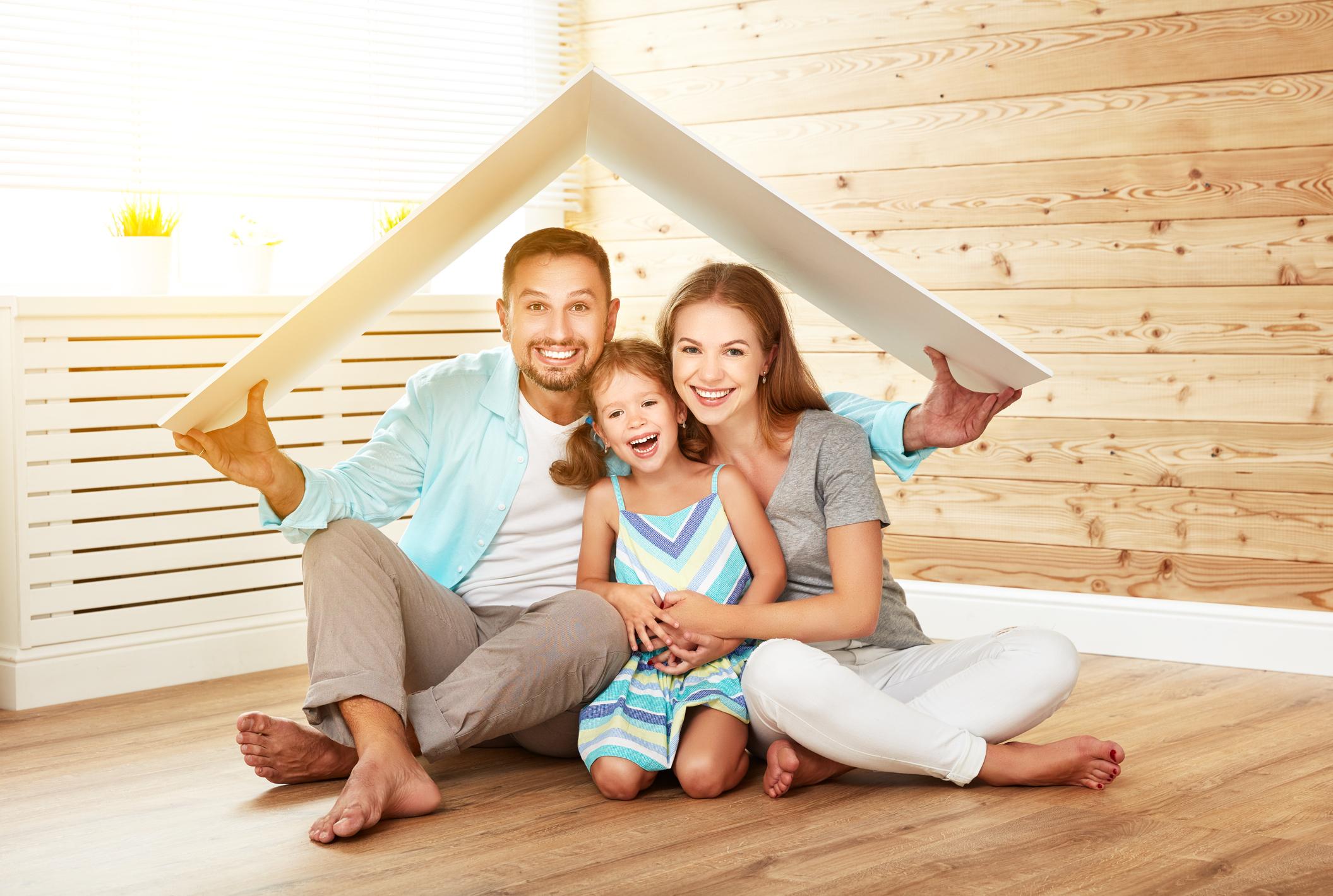 happy family under roof
