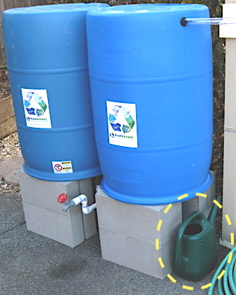 watering can and rain barrels