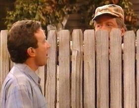 Tim Taylor with Mr Wilson over the fence