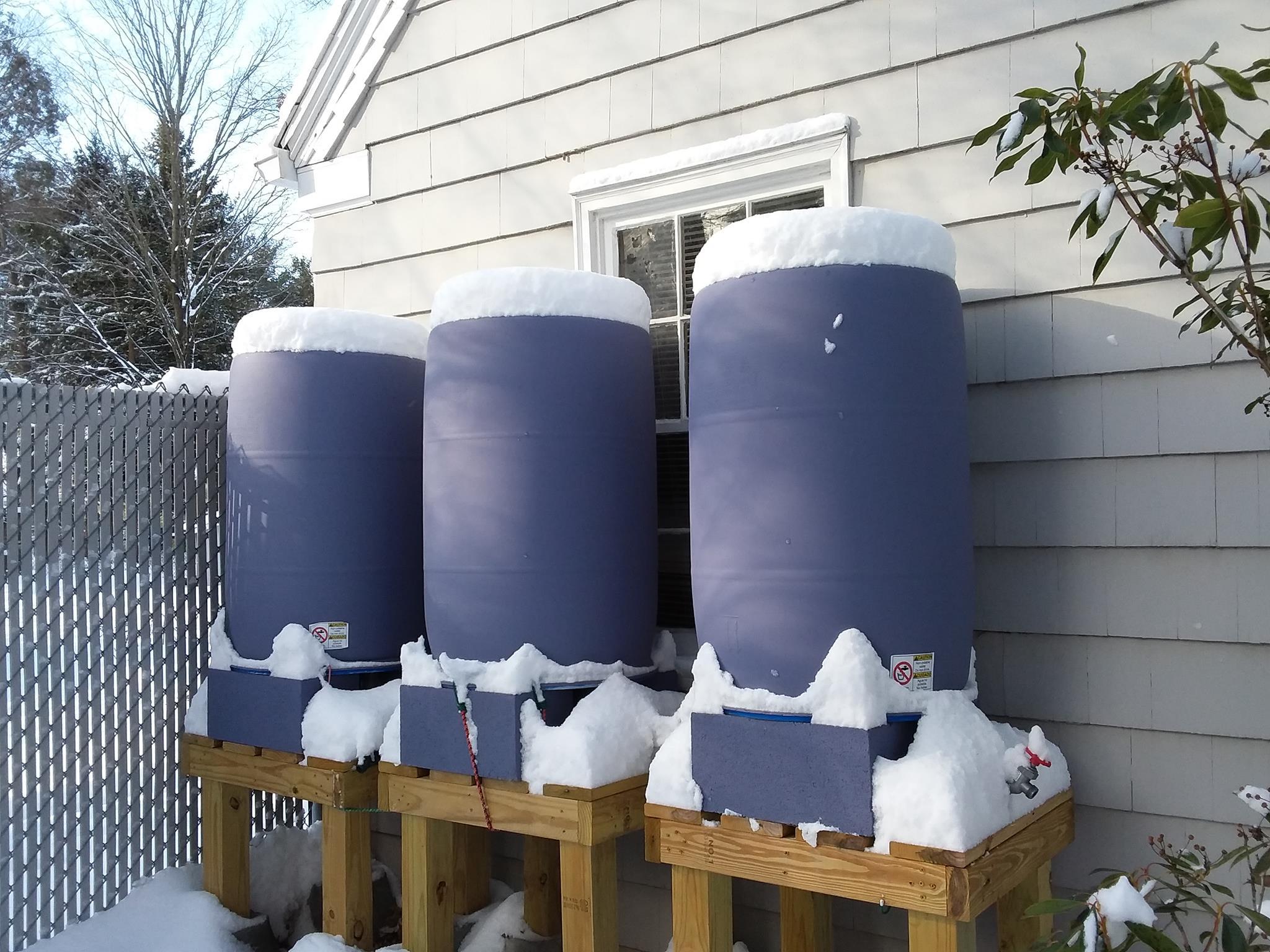 winterize rainbarrels snop-capped barrels