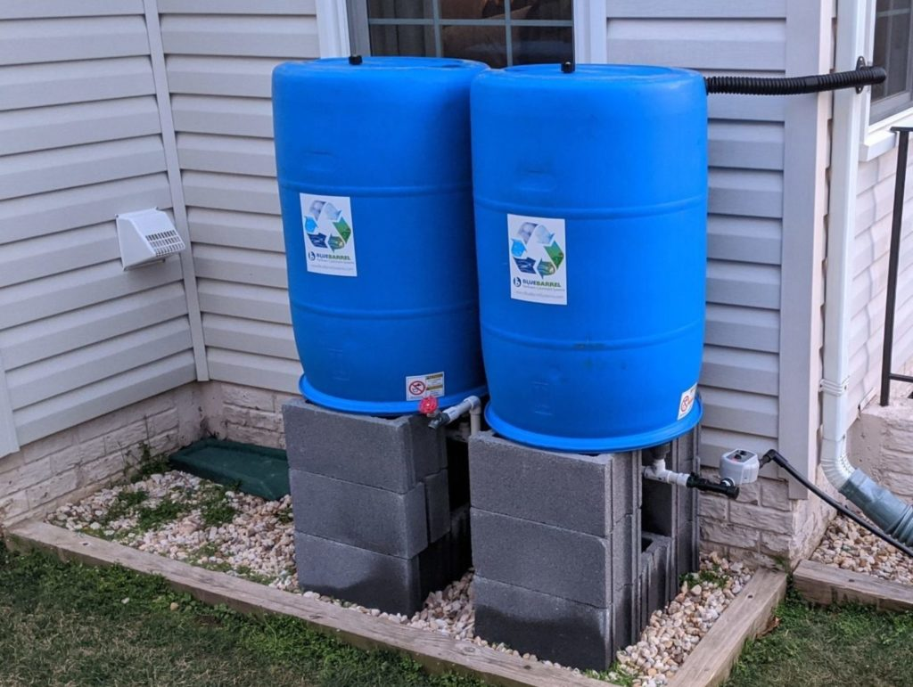 2 rain barrels with drip irrigation