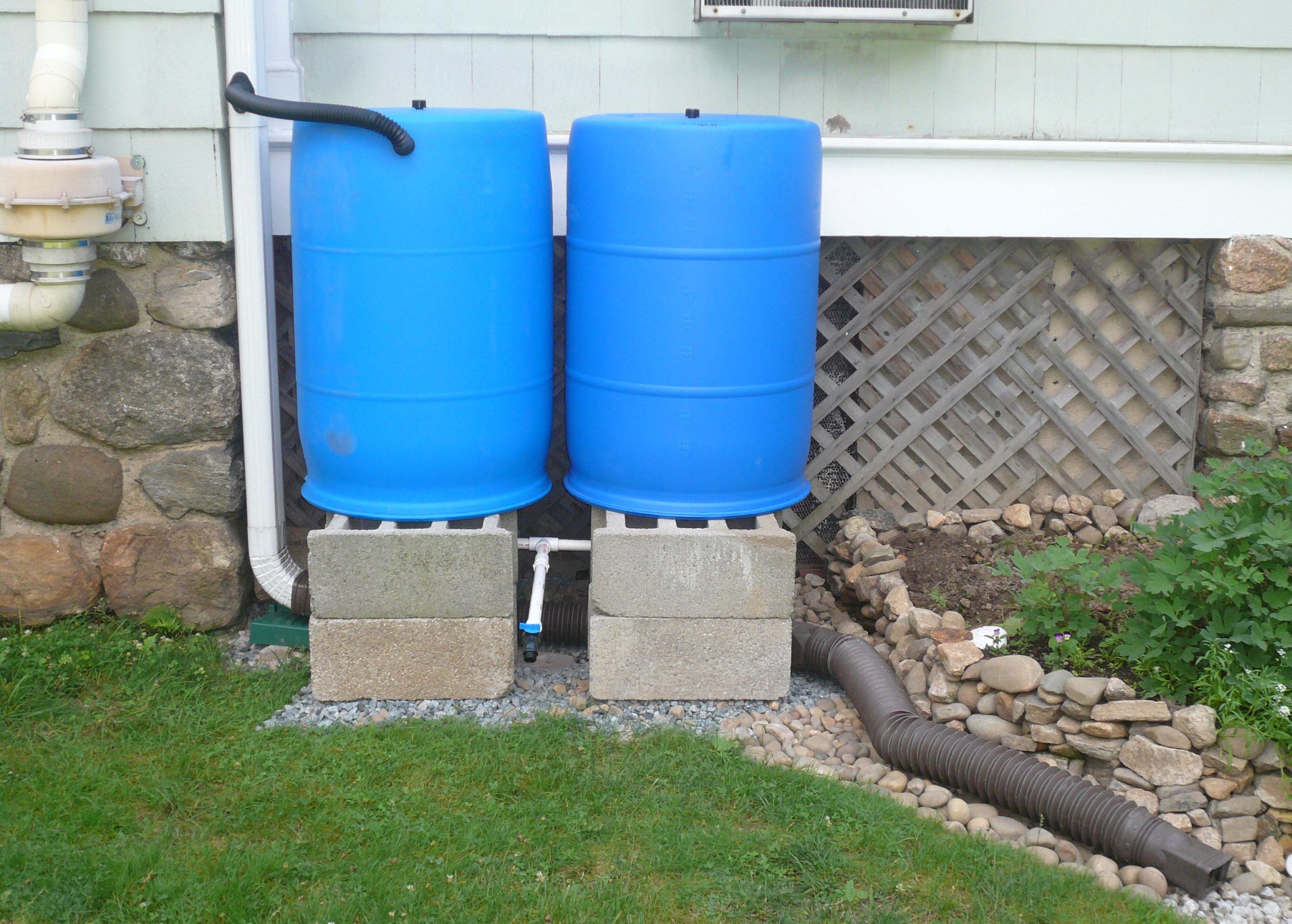 rain barrel overflow catcment drainage