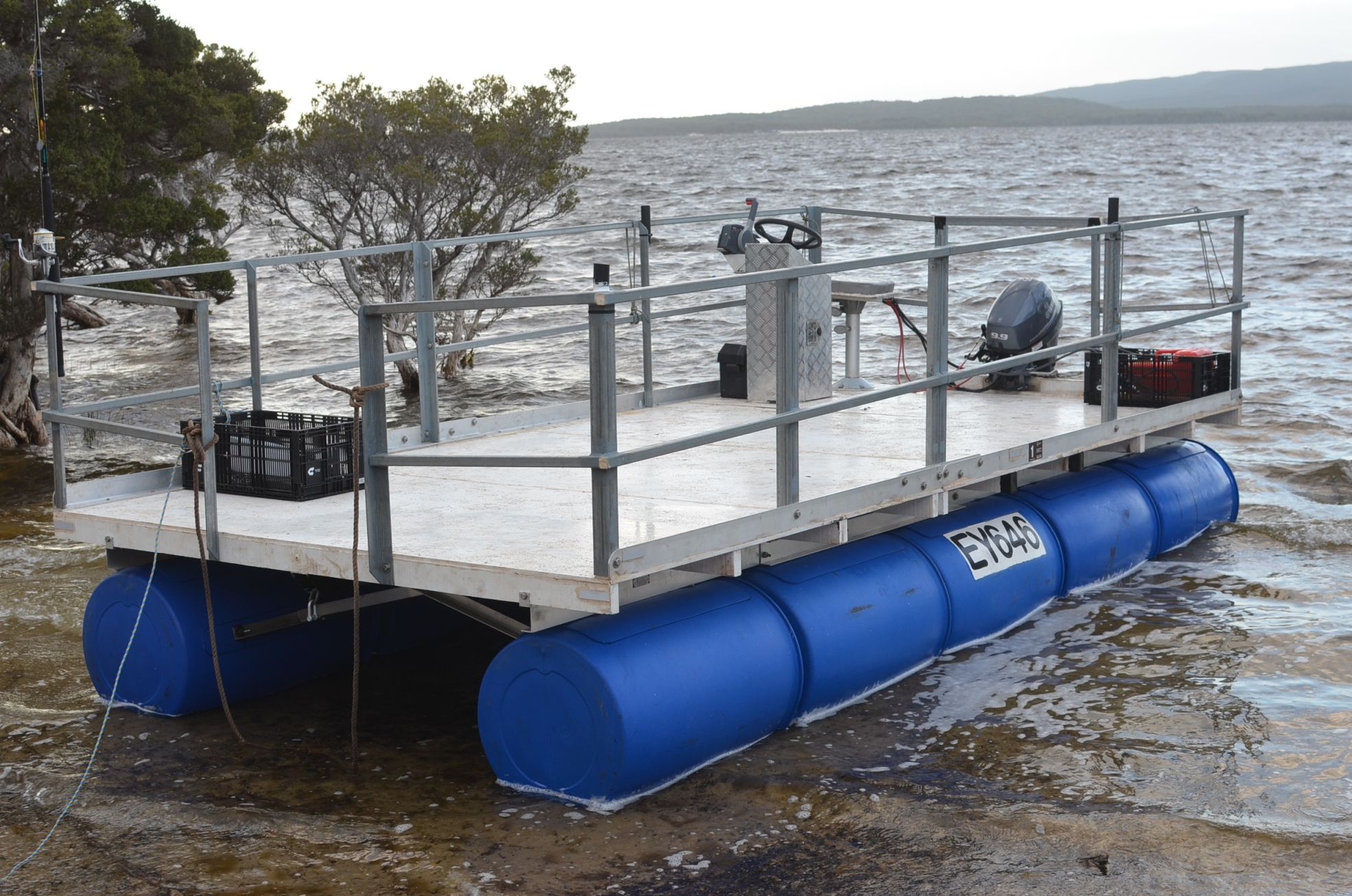 This pontoon is great way to upcycle barrels and get out on the water.